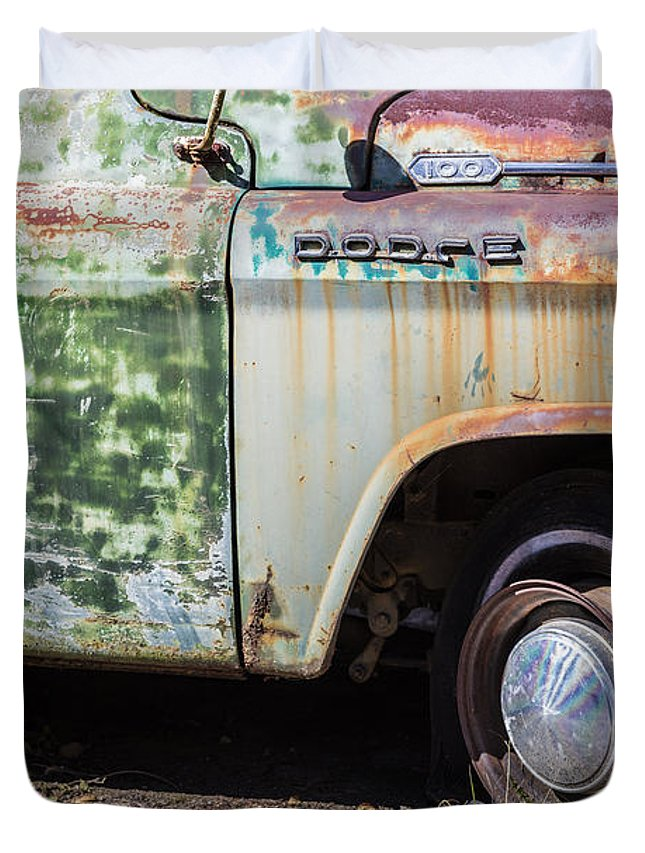 1959 Dodge D100 Sweptline Power Giant Pickup Duvet Cover featuring the photograph 1959 Dodge D100 Sweptline Power Giant Pickup by John MacLean