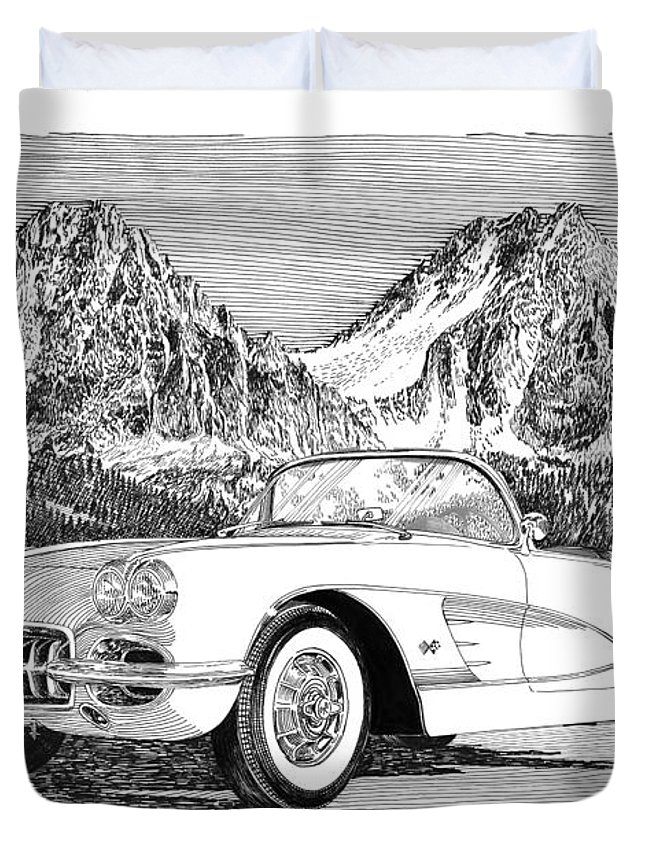 1960 Corvette Art Duvet Cover featuring the drawing 1960 Corvette by Jack Pumphrey