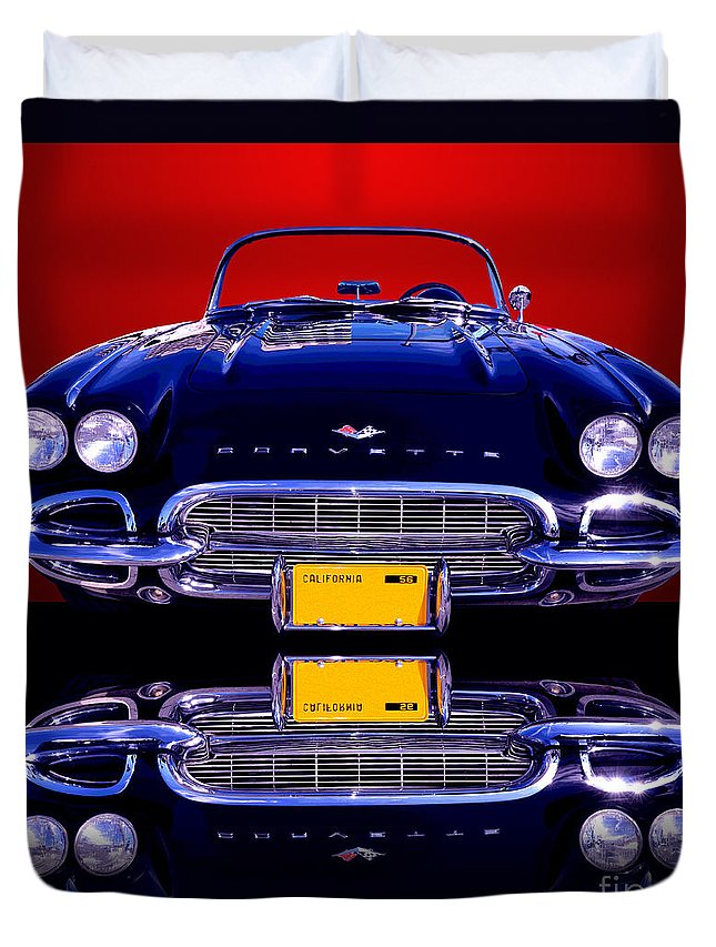 Car Duvet Cover featuring the photograph 1961 Chevy Corvette by Jim Carrell