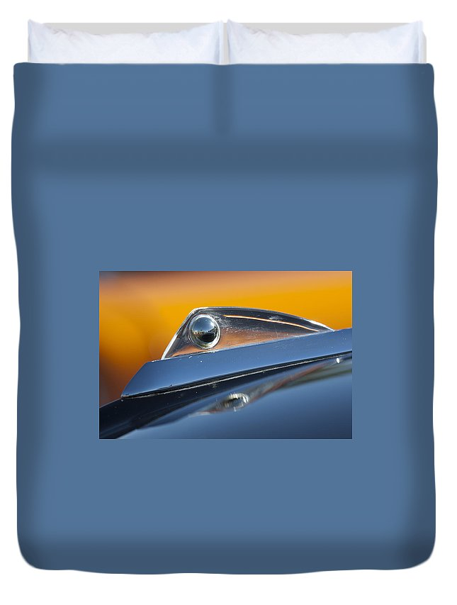 1961 Ford Starliner Duvet Cover featuring the photograph 1961 Ford Starliner Hood Ornament by Jill Reger