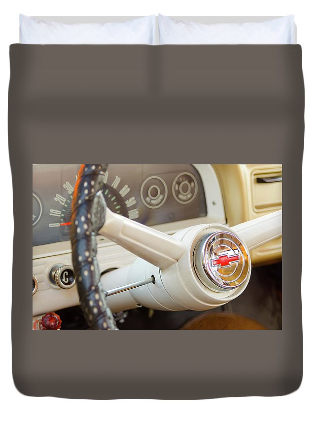 Gaetano Chieffo Duvet Cover featuring the photograph 1962 Chevy Stering Wheel by Gaetano Chieffo