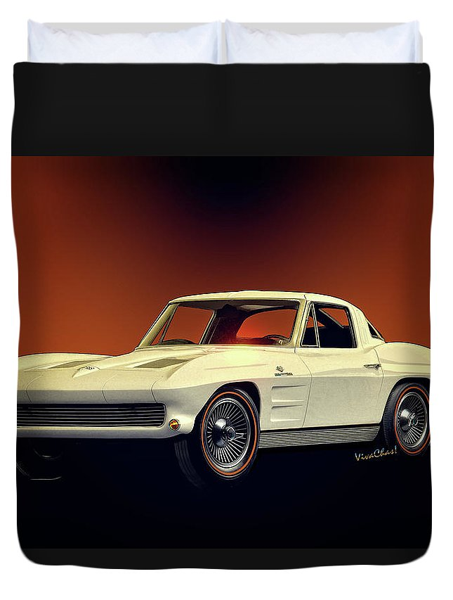 1963 Duvet Cover featuring the digital art 1963 Corvette 2nd Generation by Chas Sinklier