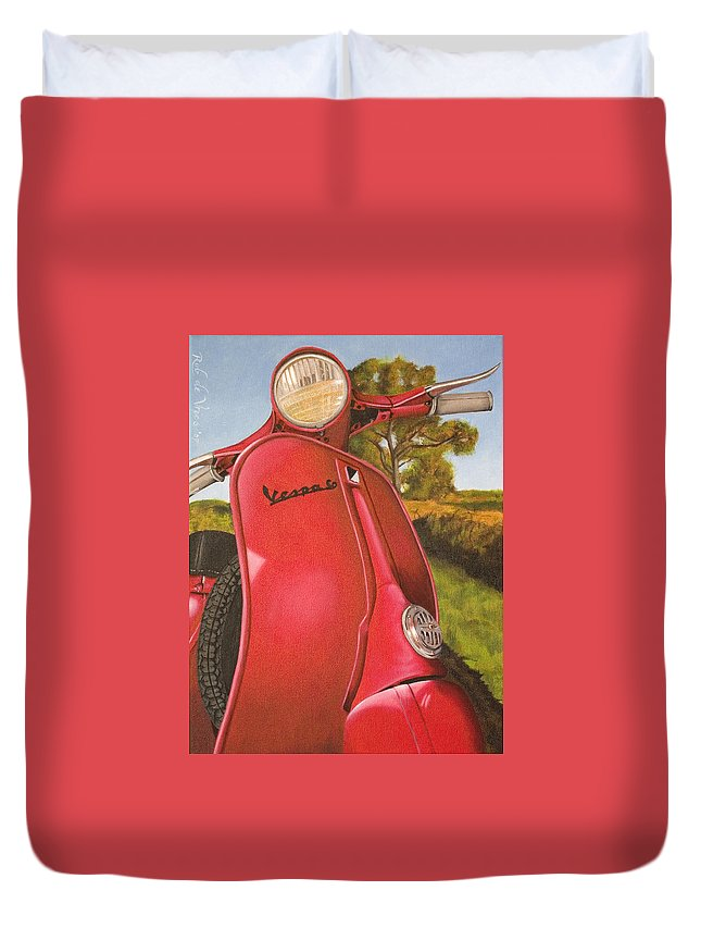 Scooter Duvet Cover featuring the painting 1963 Vespa 50 by Rob De Vries