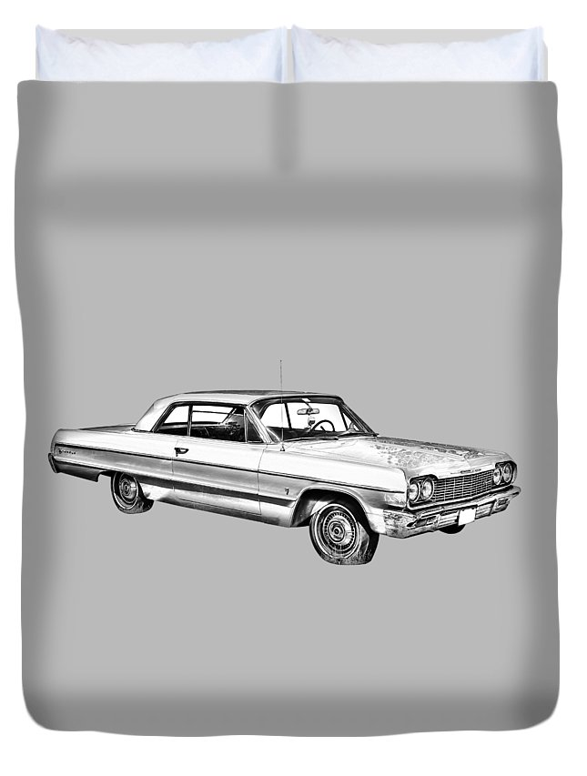 Chevy Duvet Cover featuring the photograph 1964 Chevrolet Impala Car Illustration 1964 by Keith Webber Jr