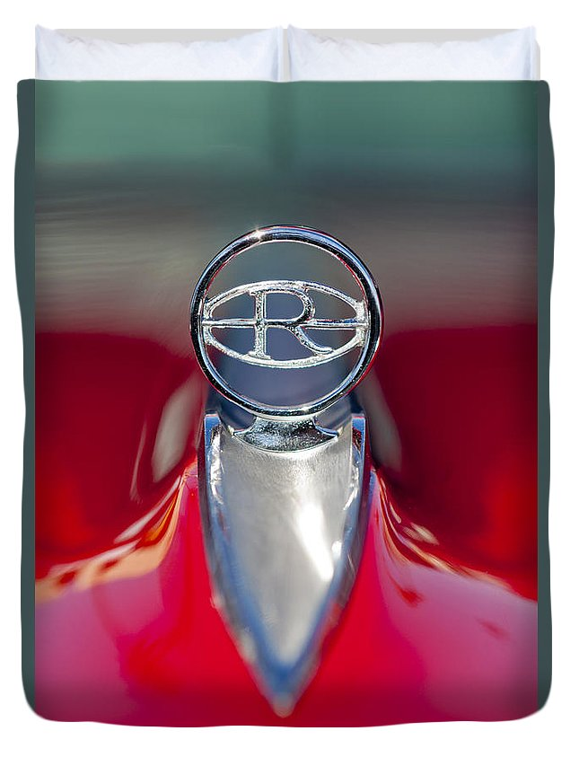 1965 Buick Riviera Duvet Cover featuring the photograph 1965 Buick Riviera Hood Ornament by Jill Reger