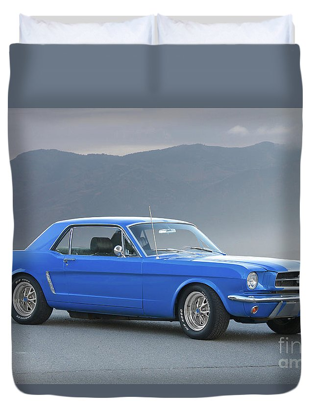 Auto Duvet Cover featuring the photograph 1965 Ford Mustang 'blue Coupe' I by Dave Koontz