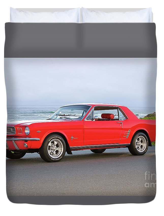 Auto Duvet Cover featuring the photograph 1965 Ford Mustang 'red Coupe' II by Dave Koontz