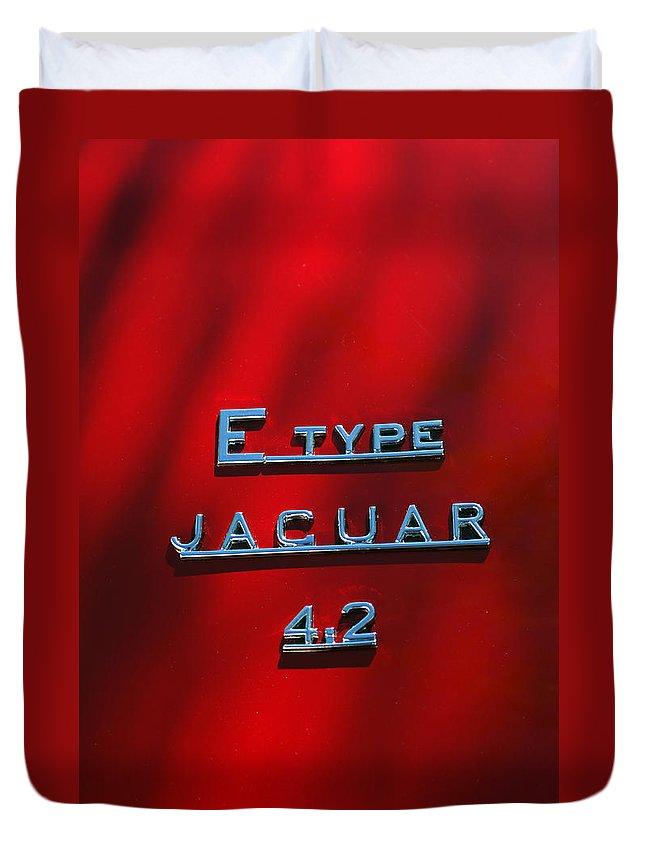 Car Duvet Cover featuring the photograph 1965 Jaguar E Type Emblem by Jill Reger