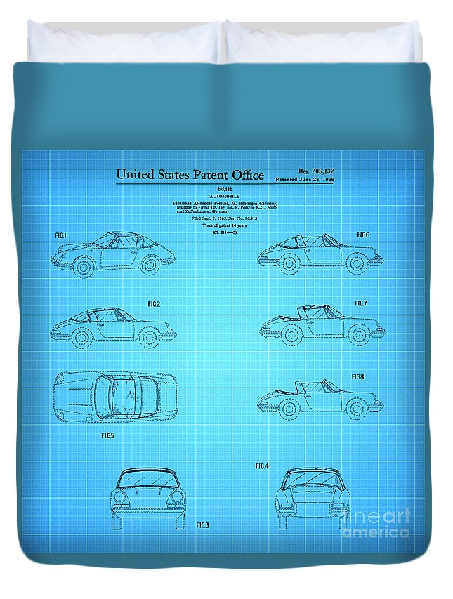 Porsche Patent Duvet Cover featuring the drawing 1966 Porsche Car Patent 2 by Nishanth Gopinathan
