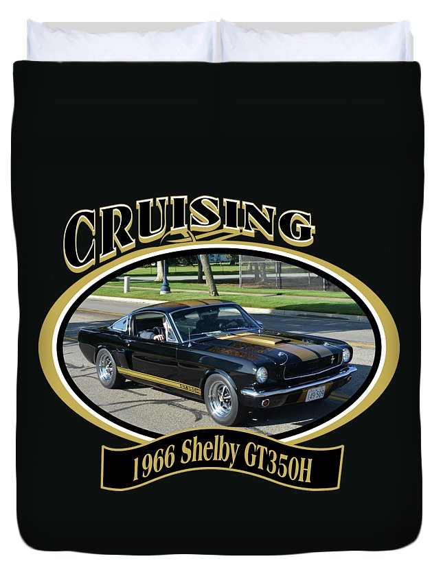 1966 Shelby Gt350h Stojan Mustang Black Gold Ford Car Duvet Cover featuring the photograph 1966 Shelby Gt350h Stojan by Mobile Event Photo Car Show Photography