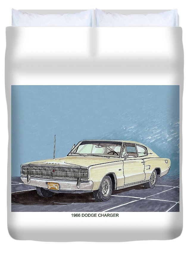 Consider Having Jack Pumphrey Do An Original Watercolor Painting Of Your Car Duvet Cover featuring the painting 1969 Dodge Charger by Jack Pumphrey