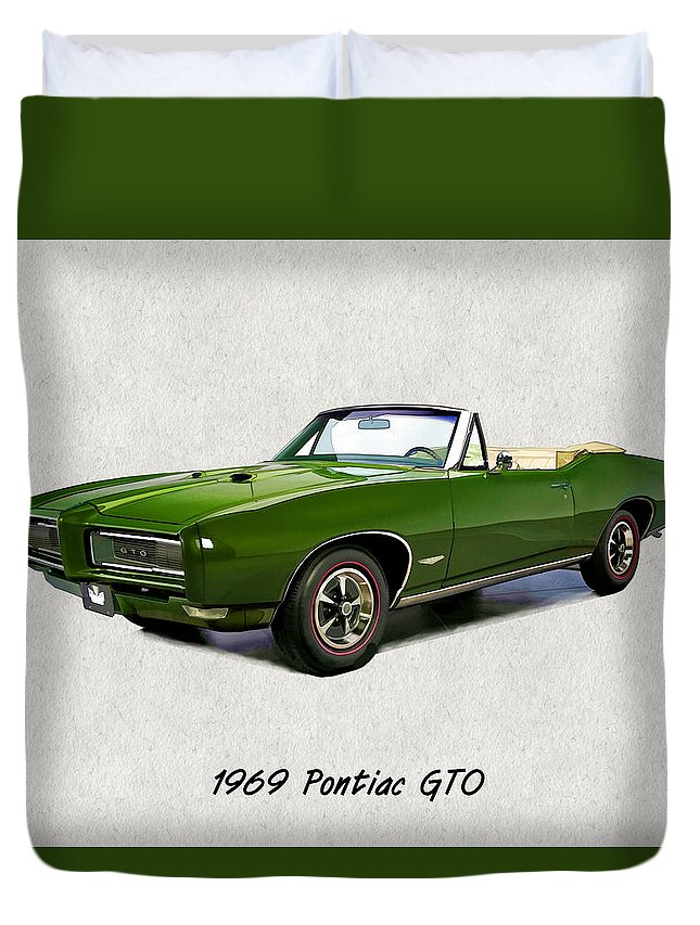 Muscle Car Duvet Cover featuring the painting 1969 Green Pontiac Gto Convertible by Elaine Plesser