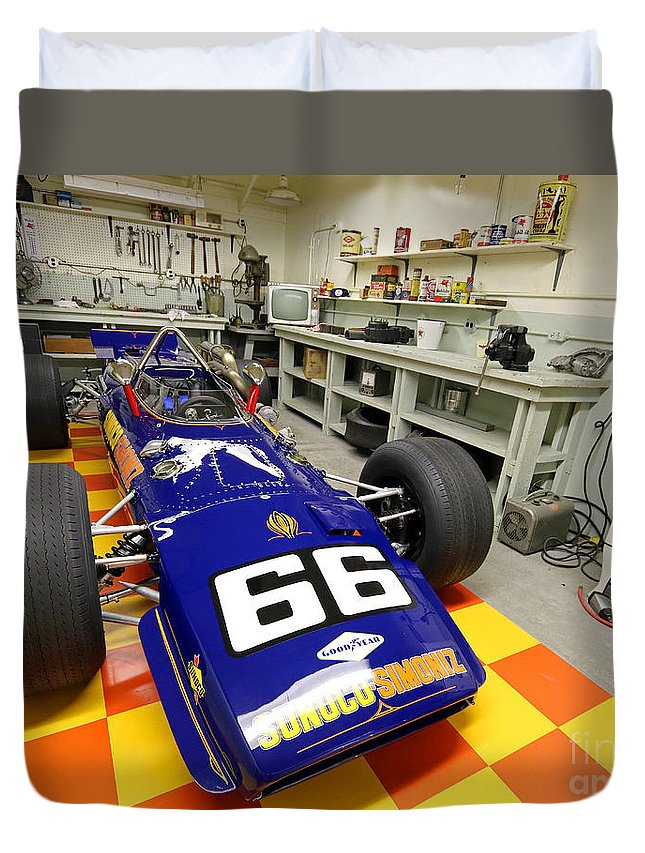 Penske Duvet Cover featuring the photograph 1969 Penske Indy Car In Garage by Steve Gass