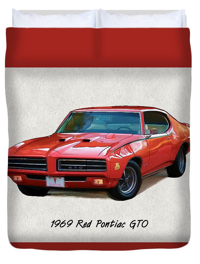 Muscle Car Duvet Cover featuring the painting 1969 Red Pontiac Gto The Judge by Elaine Plesser