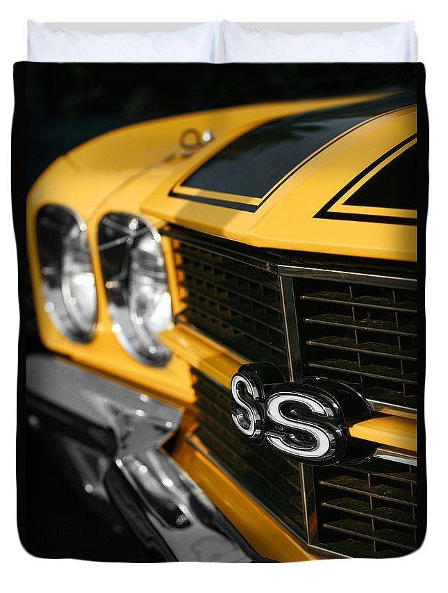 1970 Duvet Cover featuring the digital art 1970 Chevelle Ss396 Ss 396 Yellow by Gordon Dean II
