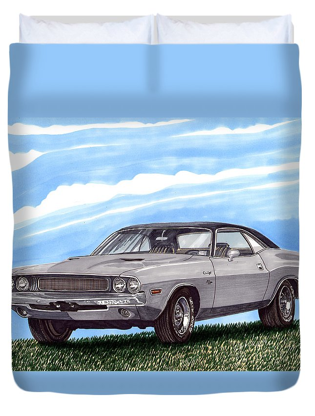 1970 Dodge Challenger. Great Muscle Cars Of The Seventies Duvet Cover featuring the painting 1970 Dodge Challenger by Jack Pumphrey