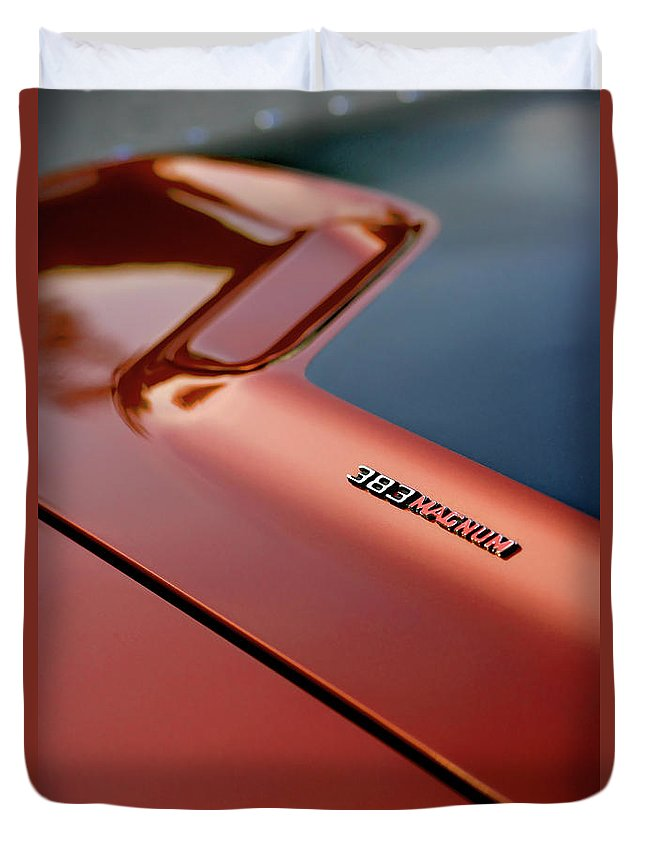 1970 Duvet Cover featuring the photograph 1970 Dodge Challenger Rt 383 Magnum Hood by Gordon Dean II