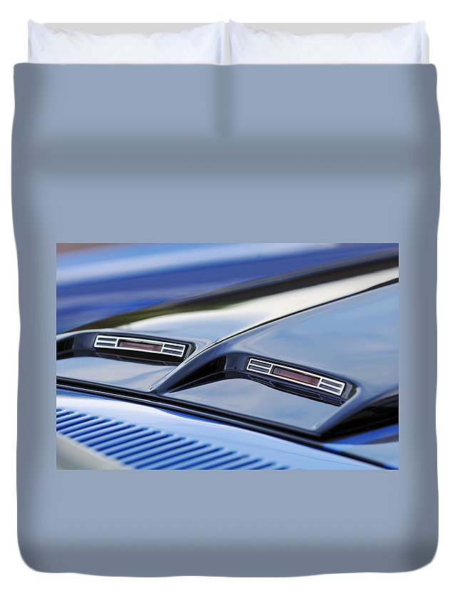 1970 Ford Mustang Gt Mach 1 Duvet Cover featuring the photograph 1970 Ford Mustang Gt Mach 1 Hood by Jill Reger