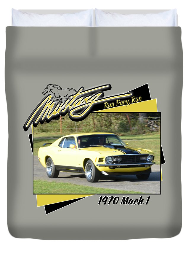 1970 Mach 1 Fellers Yellow Black Mustang Ford Car Duvet Cover featuring the photograph 1970 Mach 1 Fellers by Mobile Event Photo Car Show Photography