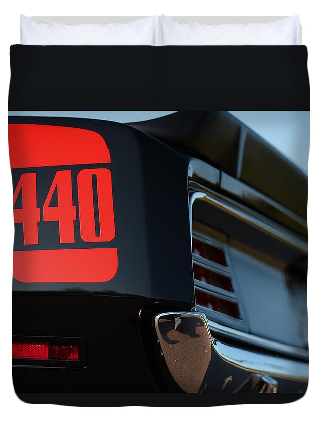 Black Duvet Cover featuring the photograph 1970 Plymouth 'cuda 440 by Gordon Dean II