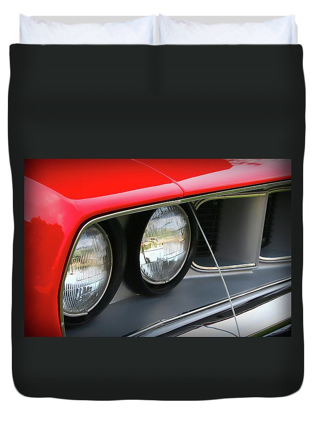 1971 Duvet Cover featuring the photograph 1971 Plymouth Barracuda Cuda Red by Gordon Dean II