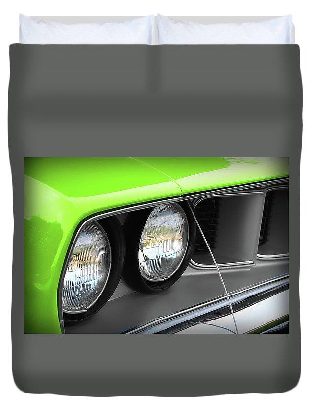 426 Duvet Cover featuring the photograph 1971 Plymouth Barracuda Cuda Sublime Green by Gordon Dean II
