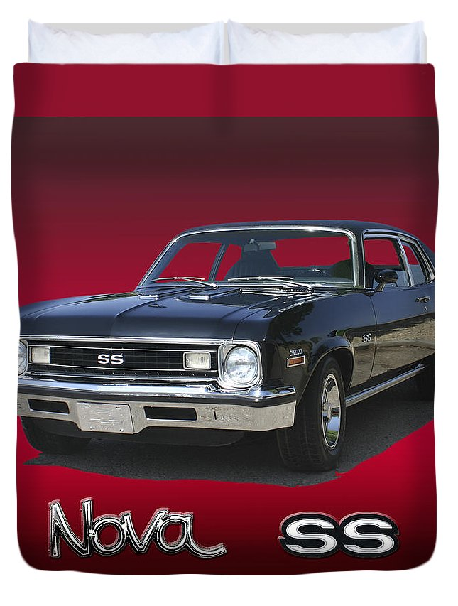 1973 Nova Super Sport 350 Muscle Car Duvet Cover featuring the photograph 1973 Nova S S 350 by Jack Pumphrey