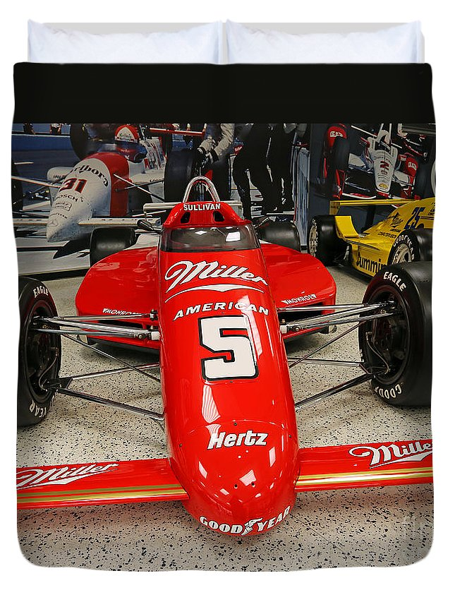 Indianapolis Duvet Cover featuring the photograph 1985 Indy 500 Winner Danny Sullivan by Steve Gass
