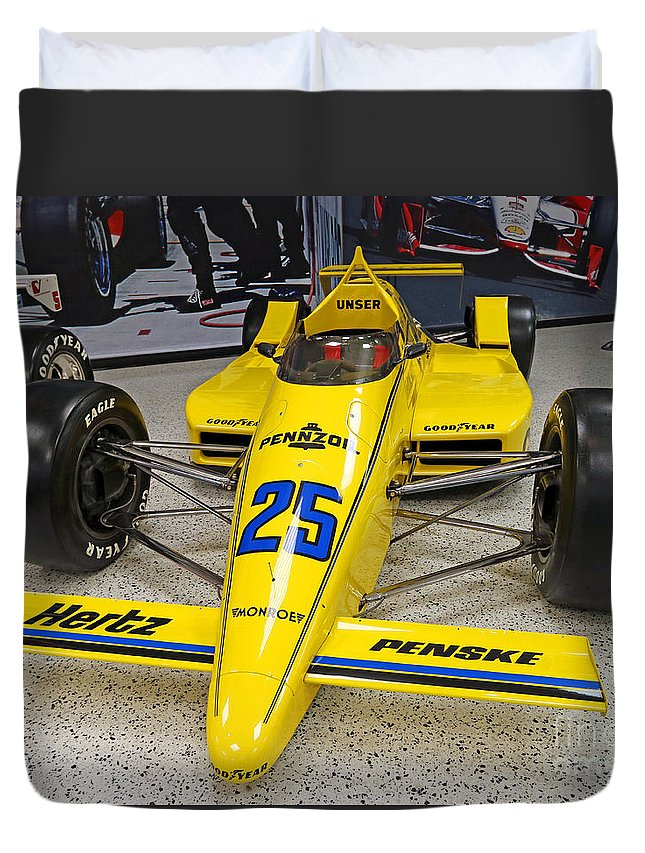 Indianapolis Duvet Cover featuring the photograph 1987 Indianapolis 500 Winner Al Unser by Steve Gass