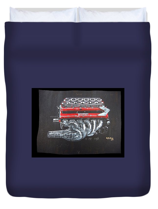 Ferrari Duvet Cover featuring the painting 1990 Ferrari F1 Engine V12 by Richard Le Page
