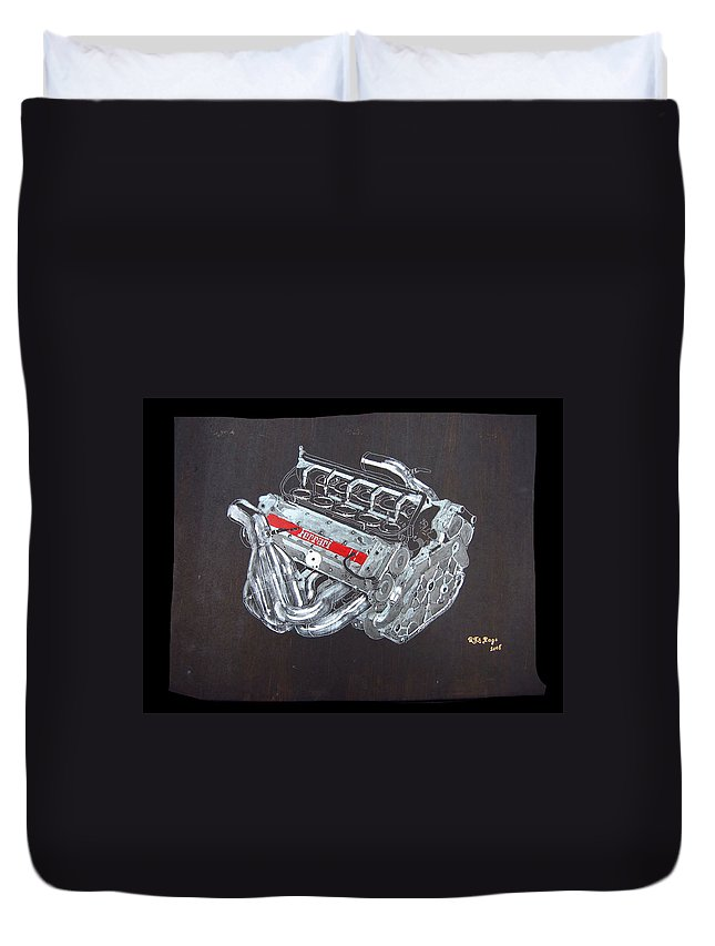 Ferrari Duvet Cover featuring the painting 1996 Ferrari F1 V10 Engine by Richard Le Page