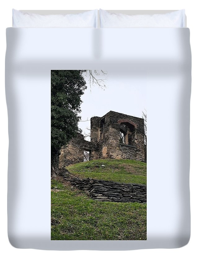 Stone Duvet Cover featuring the photograph 19th Century Church Foundation by Jacqueline Whitcomb