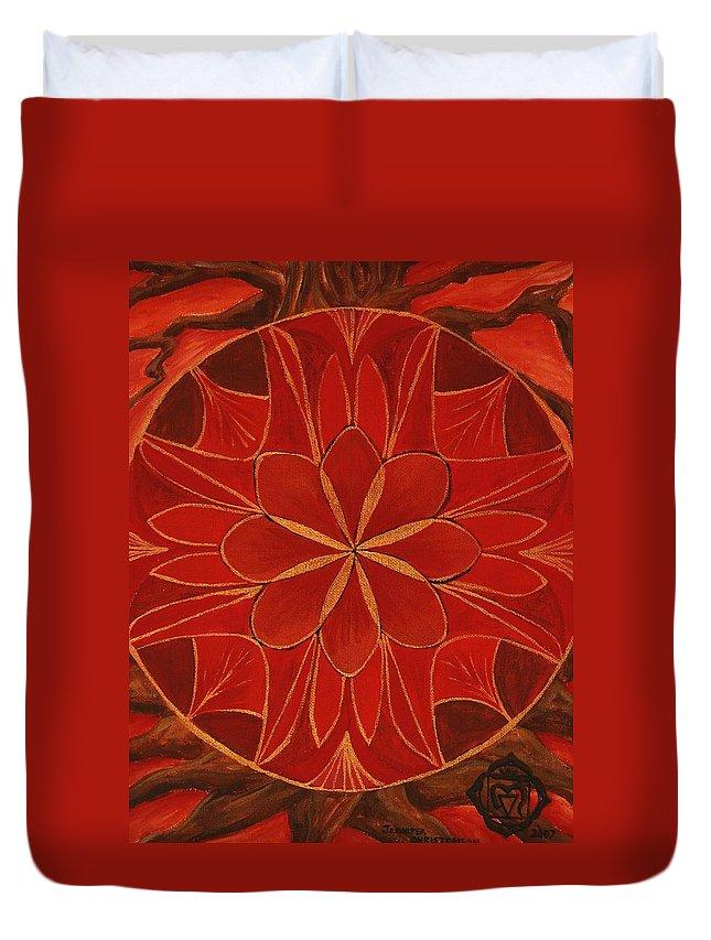 Mandala Duvet Cover featuring the painting 1st Mandala - Root Chakra by Jennifer Christenson