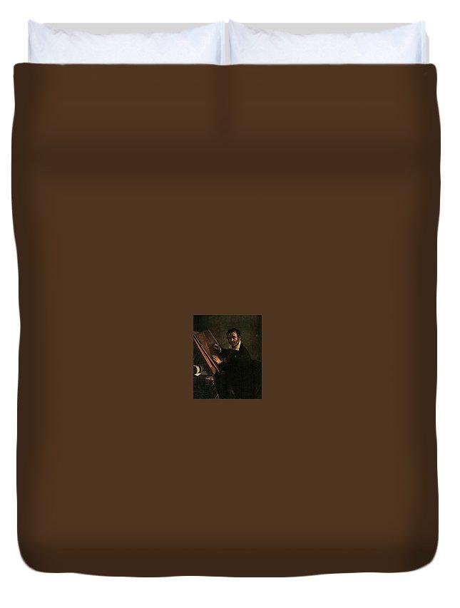 Man Duvet Cover featuring the digital art   1824 Vasily Tropinin by Eloisa Mannion