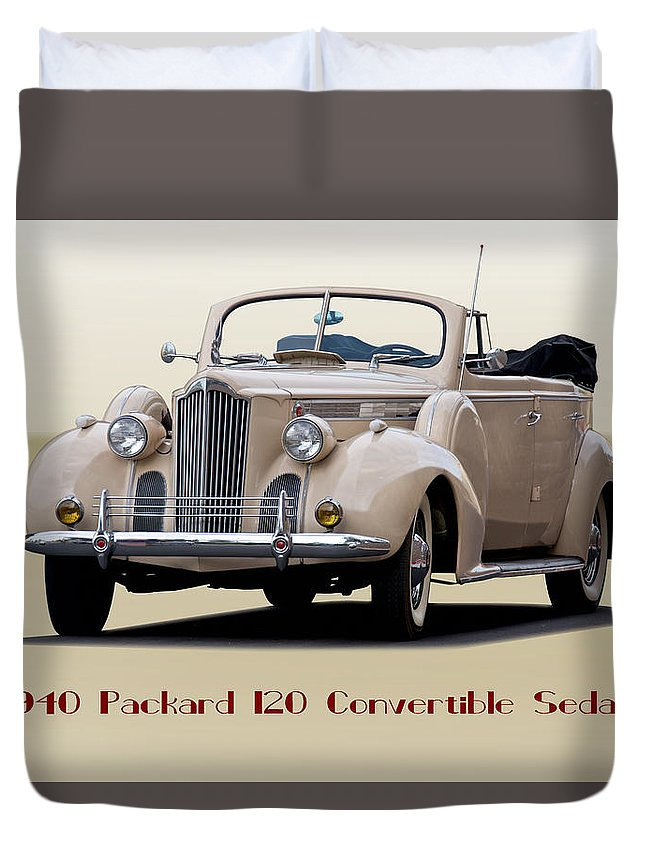 Automobile Duvet Cover featuring the photograph 1940 Packard 120 Convertible Sedan by Dave Koontz