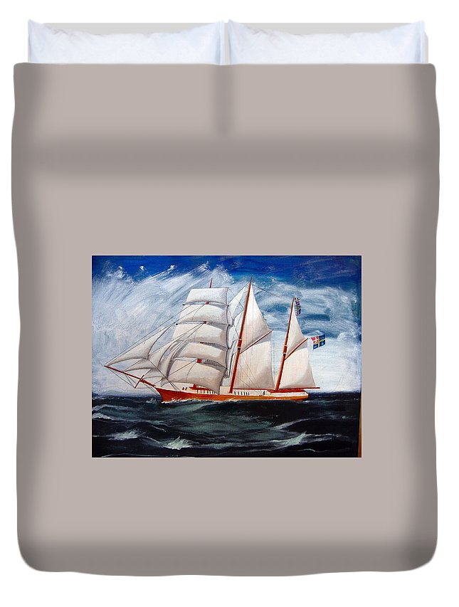 Tall Ship Duvet Cover featuring the painting 3 Master Tall Ship by Richard Le Page