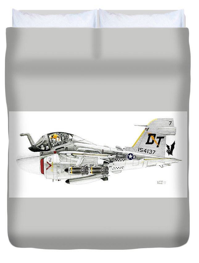 Grumman Duvet Cover featuring the drawing A-6e Intruder Caricature by Morrell Cravens