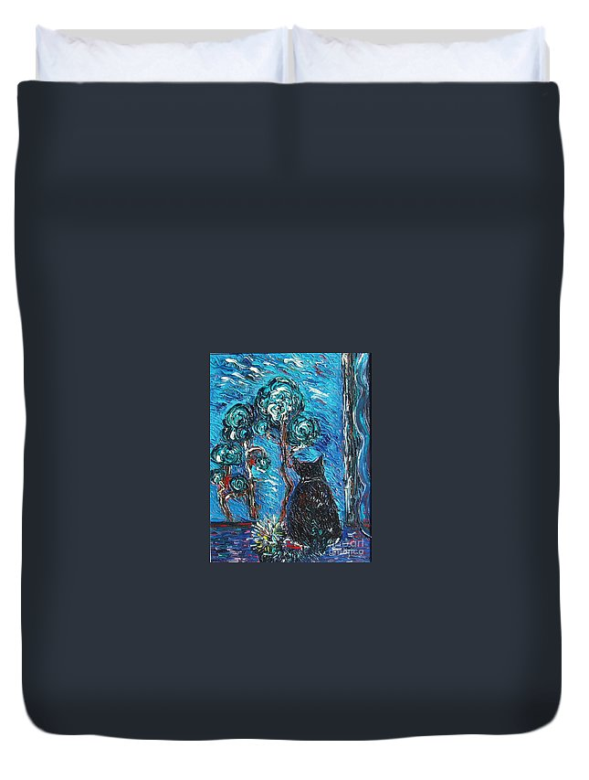Cat Paintings Duvet Cover featuring the painting A Black Cat by Seon-Jeong Kim