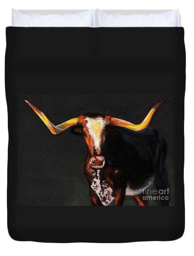 Cows Duvet Cover featuring the painting A Diamond In The Rough by Frances Marino