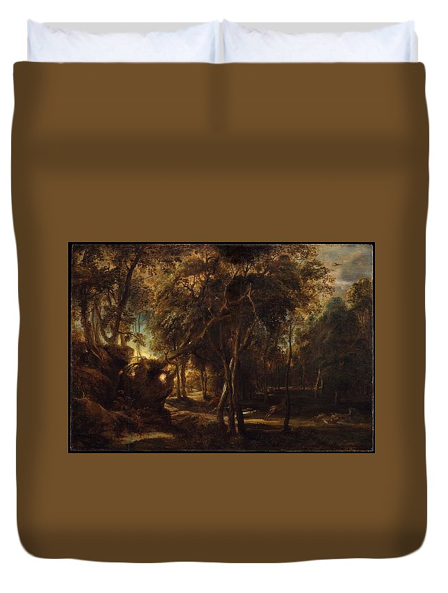 Peter Paul Rubens A Forest At Dawn With A Deer Hunt Duvet Cover featuring the painting A Forest At Dawn With A Deer Hunt by Peter Paul Rubens
