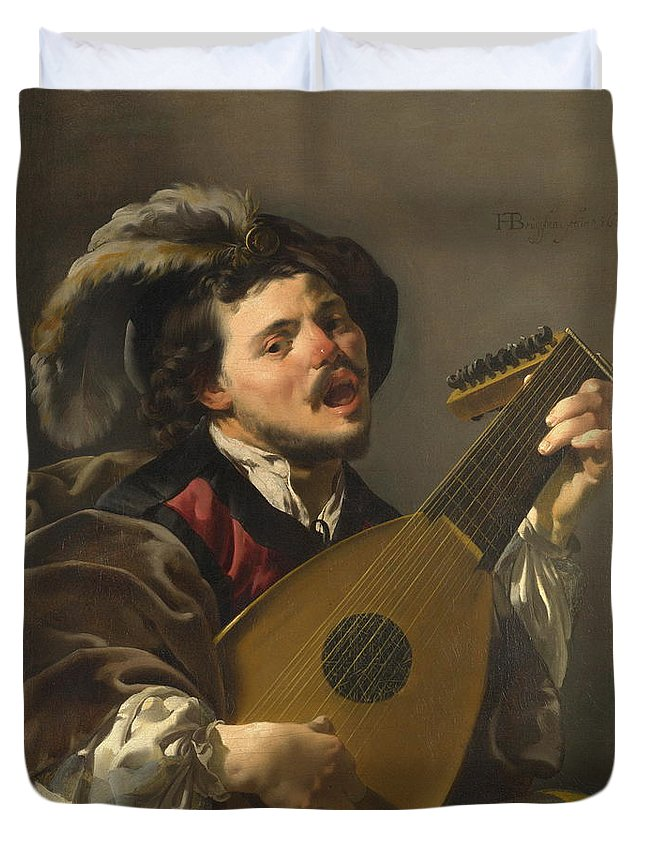 Old Duvet Cover featuring the painting A Man Playing A Lute by Hendrick Ter Brugghen