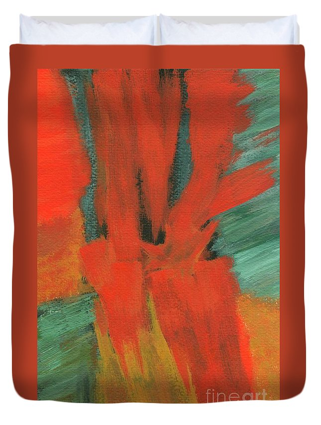 Abstract Duvet Cover featuring the painting A Moment In Time by Itaya Lightbourne