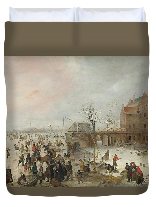 Painting Duvet Cover featuring the painting A Scene On The Ice Near A Town by Hendrick Avercamp