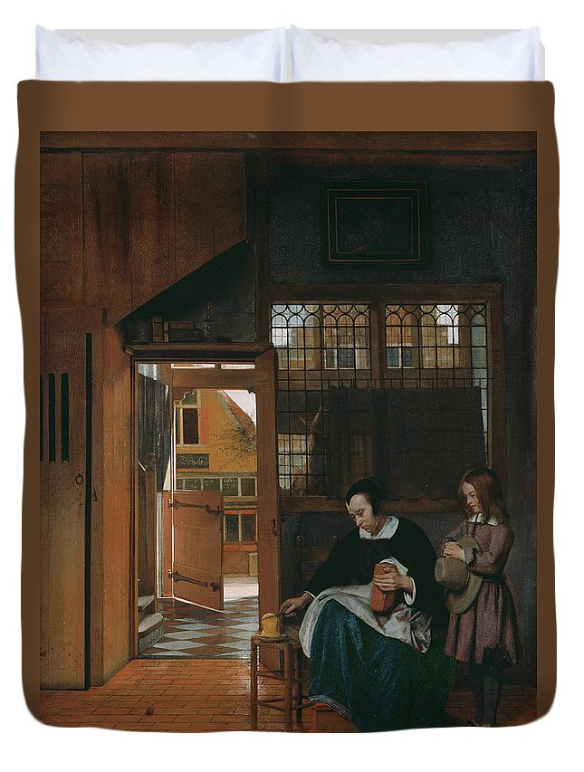 Baroque Duvet Cover featuring the painting A Woman Preparing Bread And Butter For A Boy by Pieter de Hooch