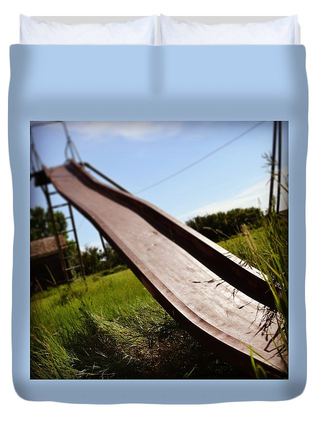 Slide Duvet Cover featuring the photograph Abandoned by Justin Parkinson