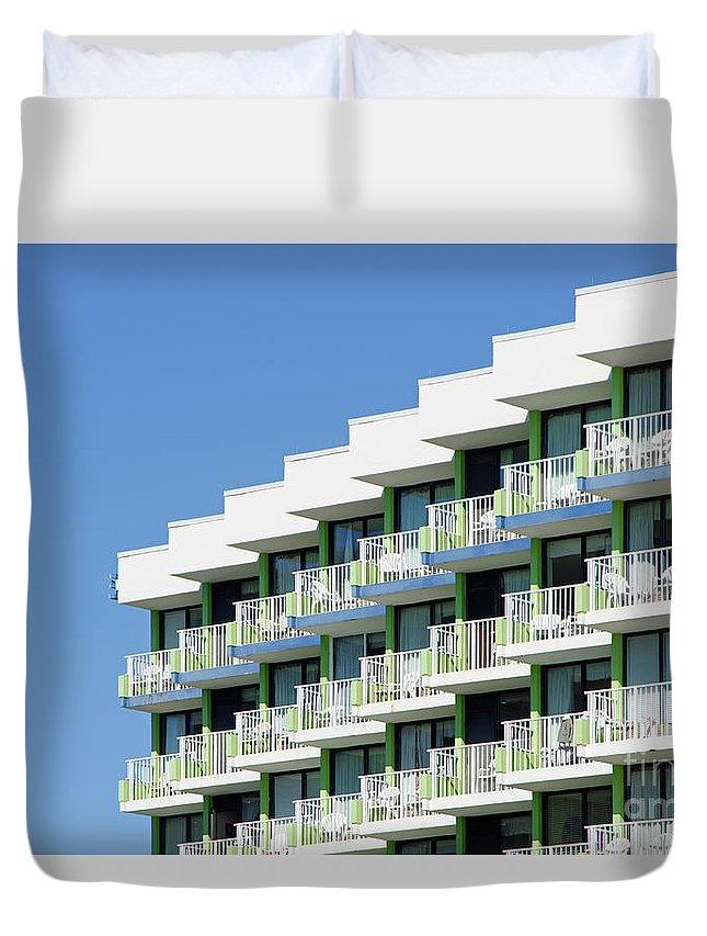 A Geometric Pattern Is Created By Highlights And Shadows Of The Outdoor Patios Of A Cement Building. Duvet Cover featuring the photograph Abstract Architecture by Craig McCausland