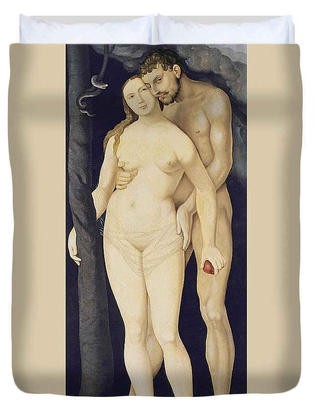 Adam Duvet Cover featuring the painting Adam And Eve by Hans Baldung Grien