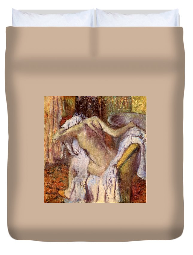 Bath Duvet Cover featuring the painting After The Bath, Woman Drying Herself by Edgar Degas