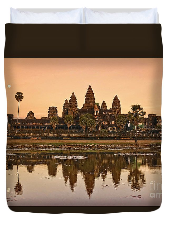 12th Century Duvet Cover featuring the photograph Angkor Wat by Juergen Held