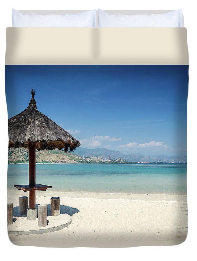 Area Duvet Cover featuring the photograph Areia Branca Tropical Beach View Near Dili In East Timor by Jacek Malipan